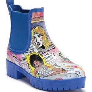 Jeffrey Campbell Cloudy comic print rain boots